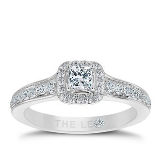 Leo Diamond 18ct White Gold 0.50ct Total Diamond Halo Ring - Product number 5513774