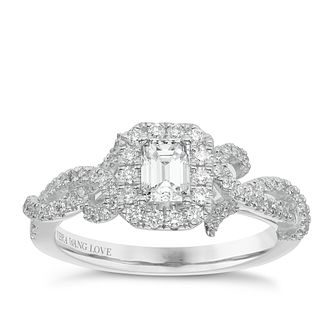 Vera Wang 18ct White Gold 0.70ct Total Diamond Halo Ring - Product number 5514320