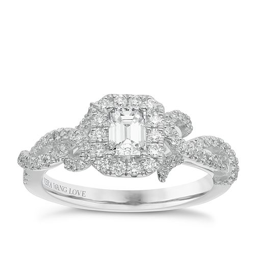 Vera Wang 18ct White Gold 0.70ct Diamond Halo Ring - Product number 5514320