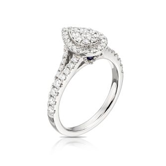 Vera Wang 18ct White Gold 0.70ct Total Diamond Cluster Ring - Product number 5514738