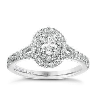Vera Wang 18ct White Gold 0.75ct Total Diamond Halo Ring - Product number 5514851