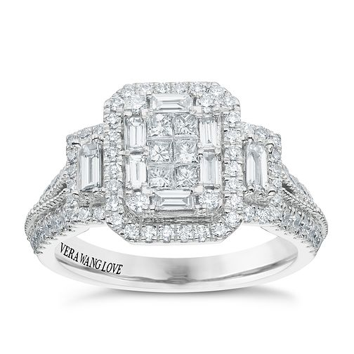 Vera Wang 18ct White Gold 0.95ct Diamond Cluster Ring - Product number 5514983
