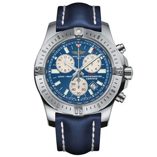 Breitling Colt Men's Chronograph Blue Leather Strap Watch - Product number 5516692