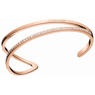 Calvin Klein Outline Rose Gold Tone & Crystal Bangle - Product number 5520134