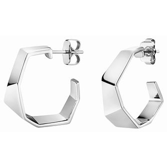 Calvin Klein Origami Silver Tone Hoop Earrings - Product number 5520150