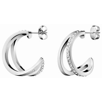 Calvin Klein Outline Stainless Steel & Crystal Hoop Earrings - Product number 5520169