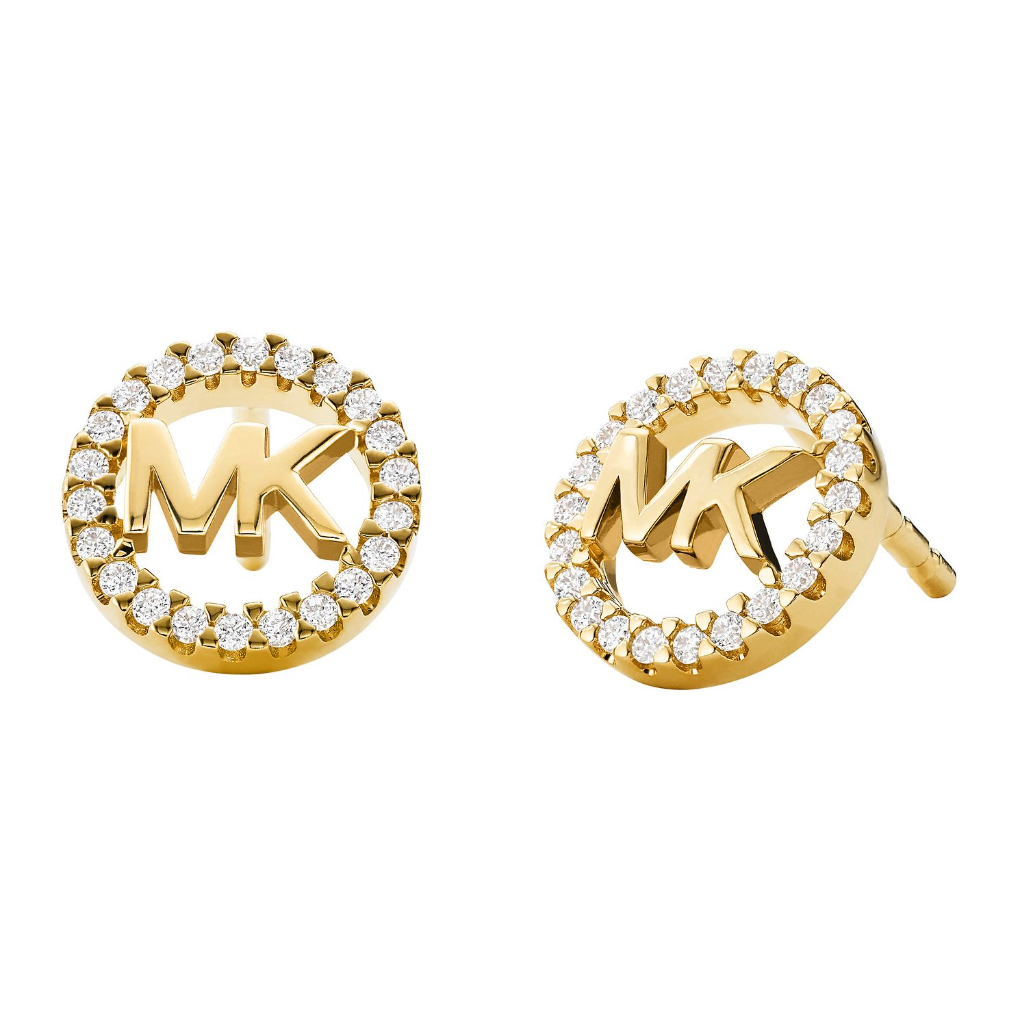Michael Kors Logo Yellow Gold Tone Cubic Zirconia Earrings - Product number 5522560