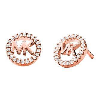Michael Kors Logo Rose Gold Tone Cubic Zirconia Earrings - Product number 5522587