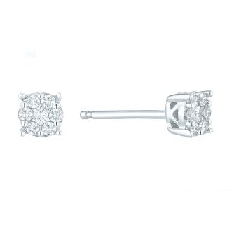 9ct White Gold 1/10ct Diamond Cluster Stud Earrings - Product number 5526035