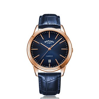 Rotary Cambridge Blue Dial Blue Leather Strap Watch - Product number 5526175