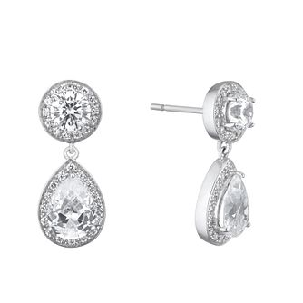 Silver Cubic Zirconia Round & Pear Halo Stud Earrings - Product number 5526507
