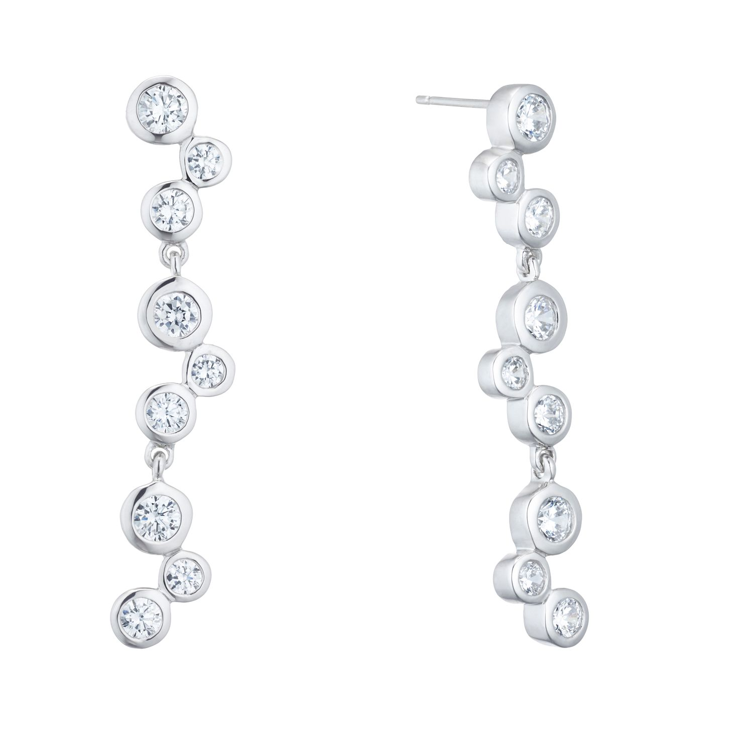 Silver Cubic Zirconia Rubover Drop Earrings - Product number 5526531