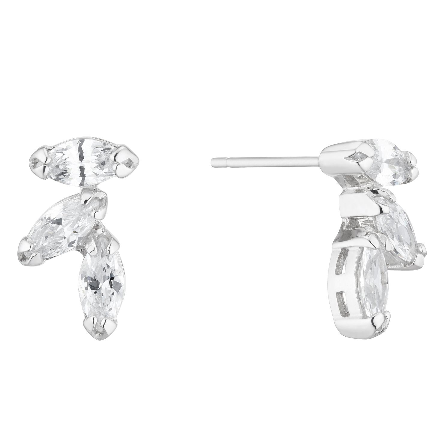 Silver Marquise Trio Cubic Zirconia Stud Earrings - Product number 5526558