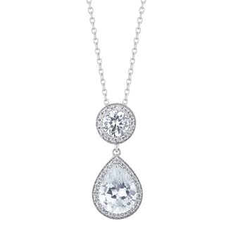 Silver Cubic Zirconia Round & Pear Halo Pendant - Product number 5527422
