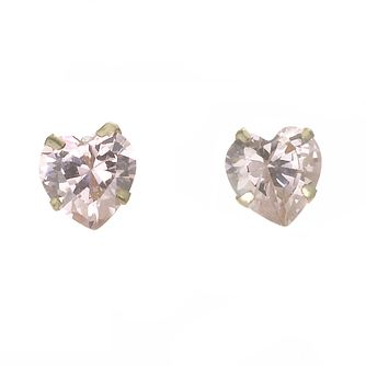 9ct Yellow Gold Pink Heart 5mm Stud Earrings - Product number 5547482