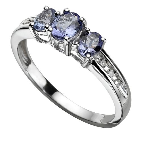 9ct White Gold Diamond and Tanzanite Ring - Product number 5570182