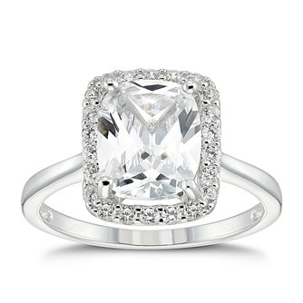 Silver Cubic Zirconia Cushion Halo Ring - Product number 5587018