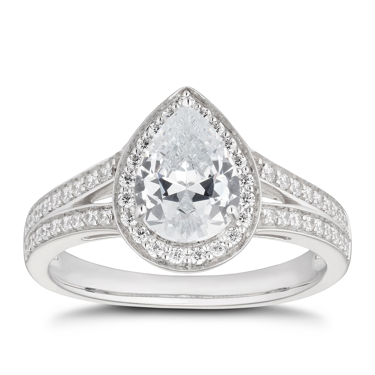 Silver Cubic Zirconia Pear Halo Ring - Product number 5632390
