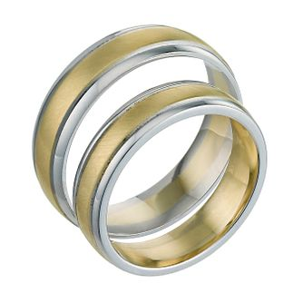 9ct White & Yellow Gold 5 & 6mm Matt Ring Pair - Product number 5636515