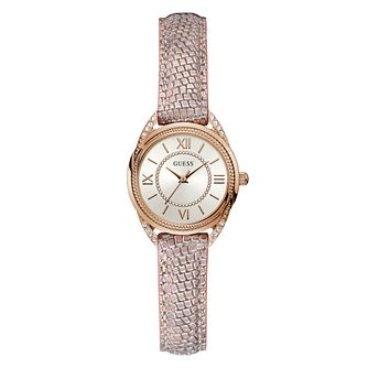 Guess Whisper Ladies' Pink Patterned Leather Strap Watch - Product number 5693624