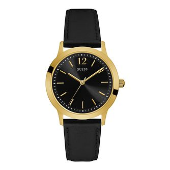 Guess Exchange Men's Black Leather Strap Watch - Product number 5693632