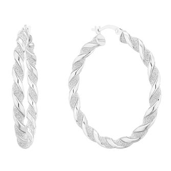 Sterling Silver Glitter Twist 33mm Hoop Earrings - Product number 5694051