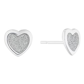 Silver Glitter Heart Stud Earrings - Product number 5694094