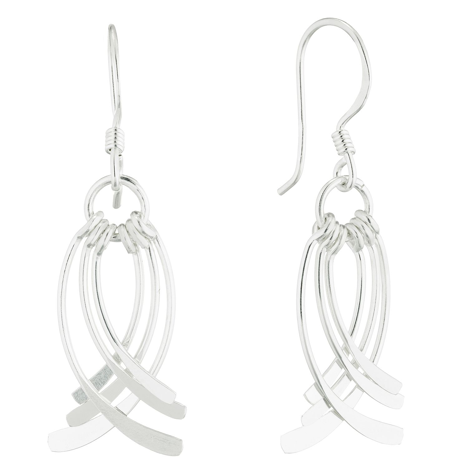 Silver Multi Curve Drop Earrings - Product number 5694116