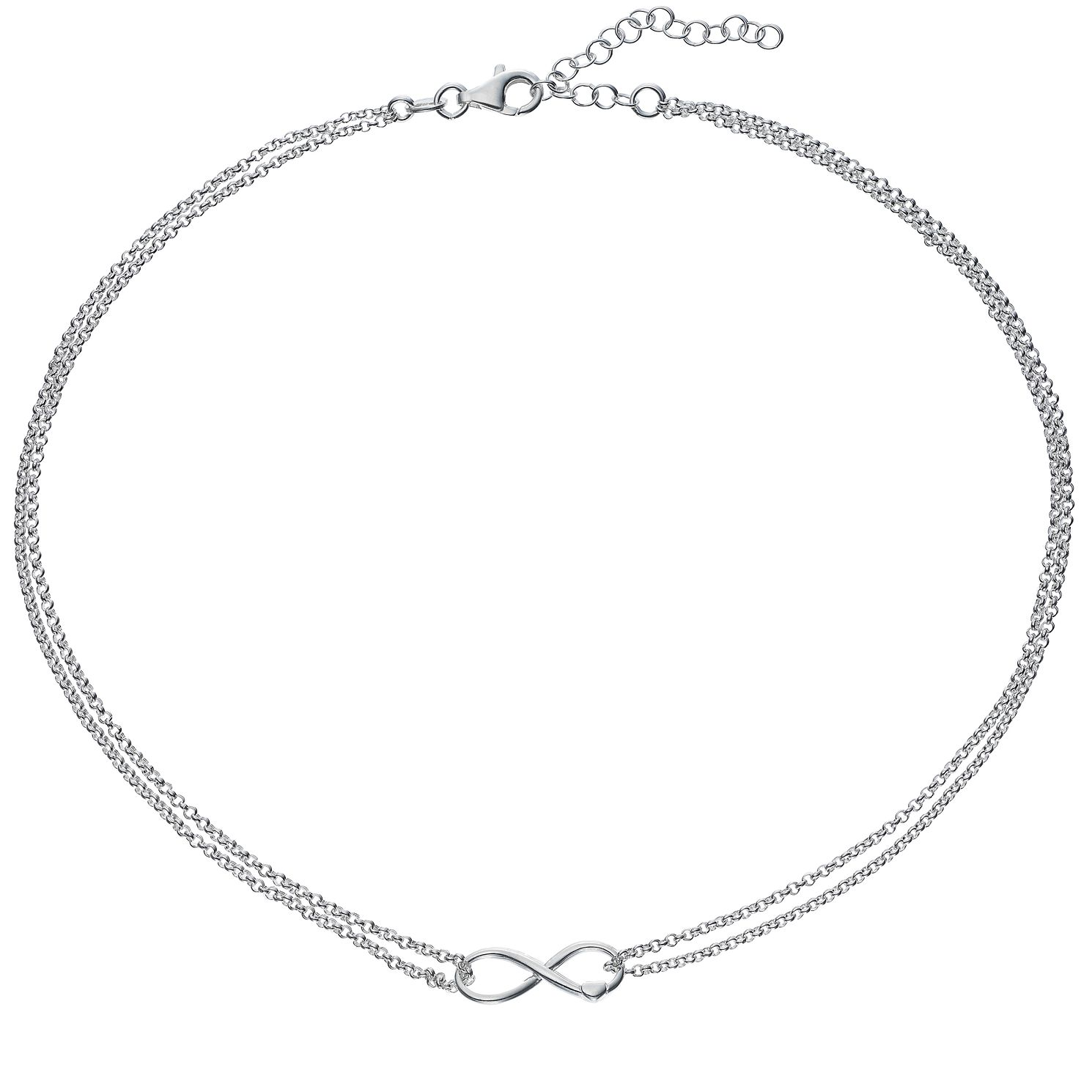 Silver Infinity Heart Double Chain Necklace - Product number 5694256