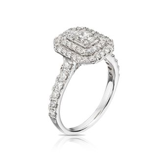 18ct White Gold 1.25ct Diamond Double Halo Princess Cut Ring - Product number 5697603