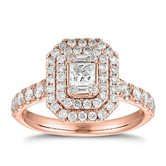 18ct Rose Gold 1.25ct Diamond  Princess Double Halo Ring - Product number 5699924