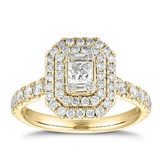 18ct Yellow Gold 1.25ct Total Diamond Princess Halo Ring - Product number 5700140
