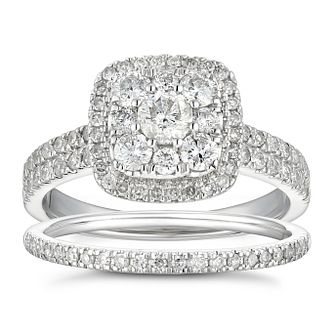 18ct White Gold 1ct Total Diamond Cushion Halo Bridal Set - Product number 5702291