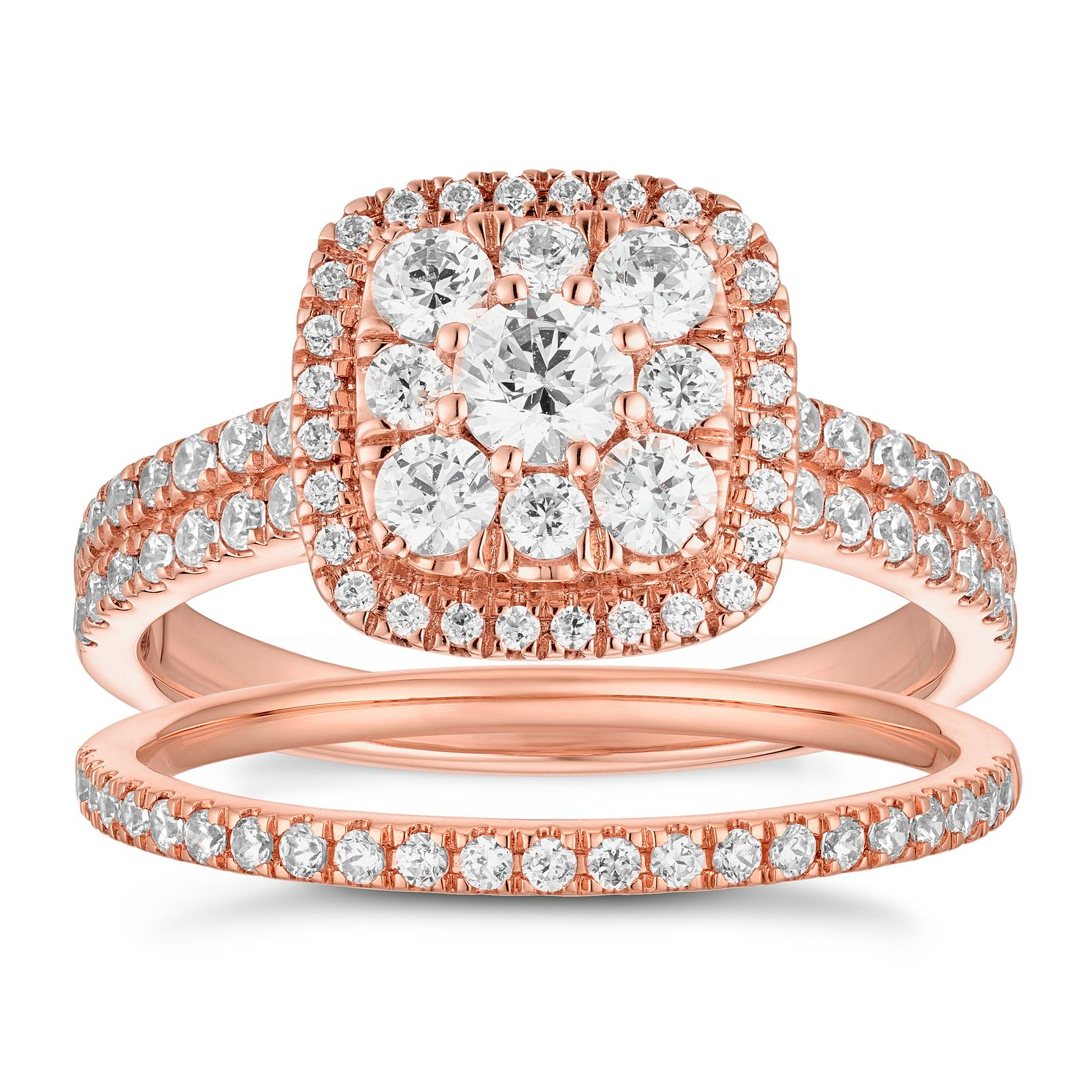 18ct Rose Gold 1ct Diamond Cushion Bridal Set - Product number 5702445
