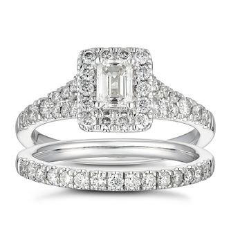 Platinum 1ct Diamond Cushion Halo Bridal Set - Product number 5703298