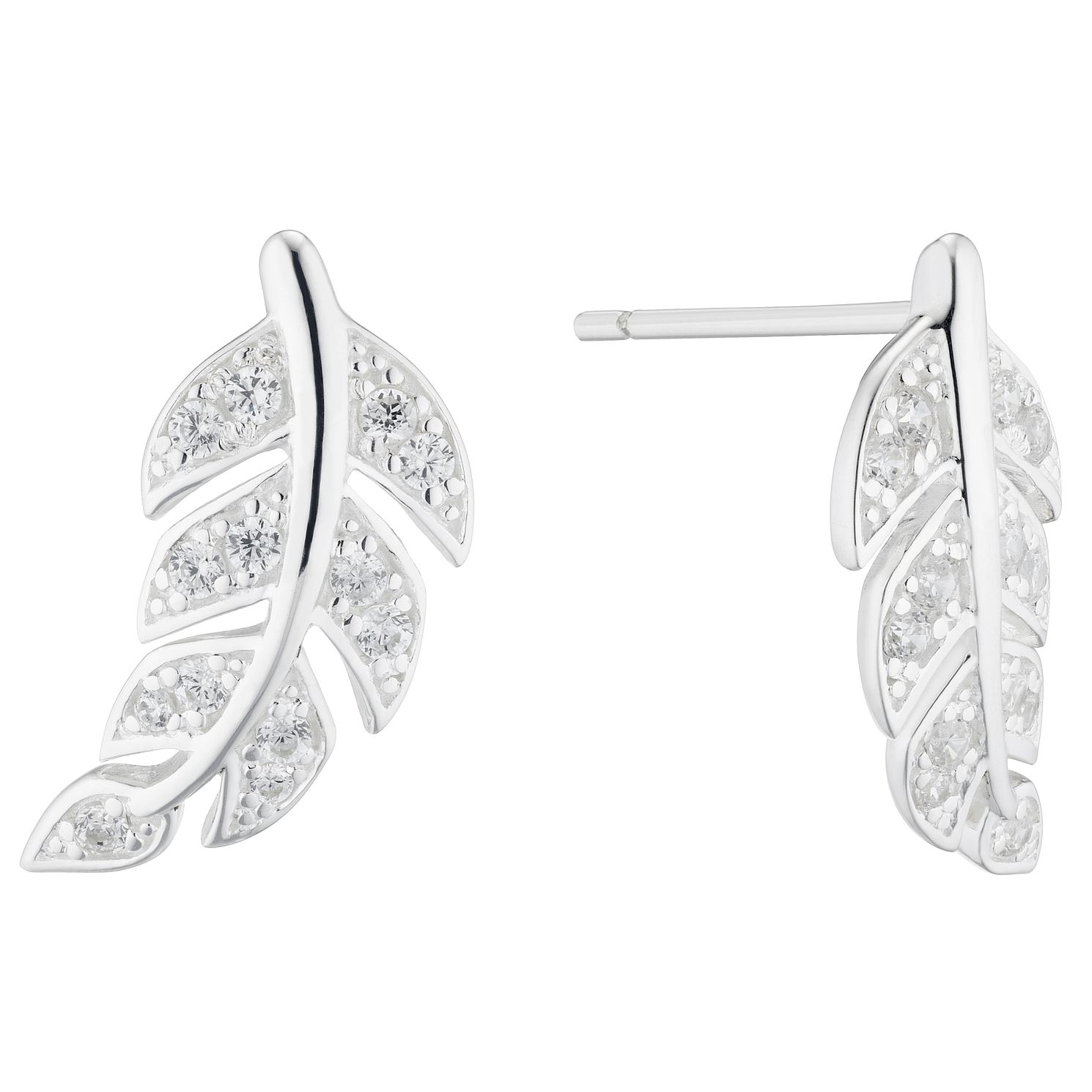 Silver Cubic Zirconia Feather Stud Earrings - Product number 5705096
