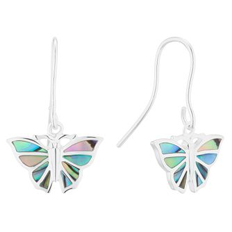 Silver Abalone Butterfly Drop Earrings - Product number 5706246