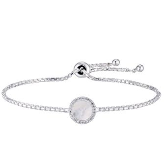 Silver Mother-Of-Pearl & Crystal Halo Disc Bracelet - Product number 5706319