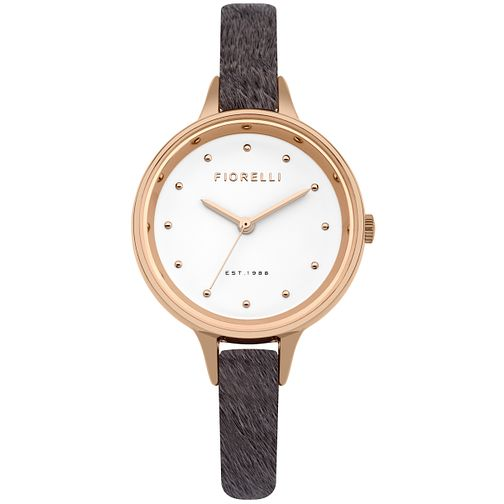 Fiorelli Ladies' Grey Fur Leather Strap Watch - Product number 5706963