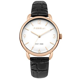 Fiorelli Ladies' Black Leather Strap Watch - Product number 5707226