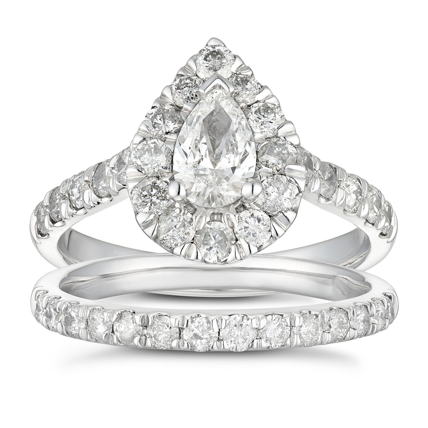 Platinum 1.5ct Total Diamond Pear Halo Bridal Set - Product number 5708176