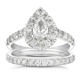 Platinum 1.5ct Diamond Pear Halo Bridal Set - Product number 5708176