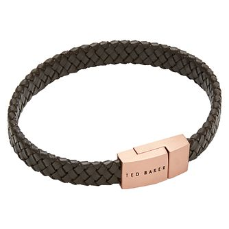Ted Baker Men's Brown Braided Leather Bracelet - Product number 5708346