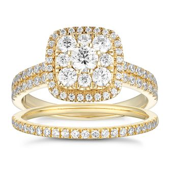 18ct Yellow Gold 1ct Total Diamond Cushion Halo Bridal Set - Product number 5711614