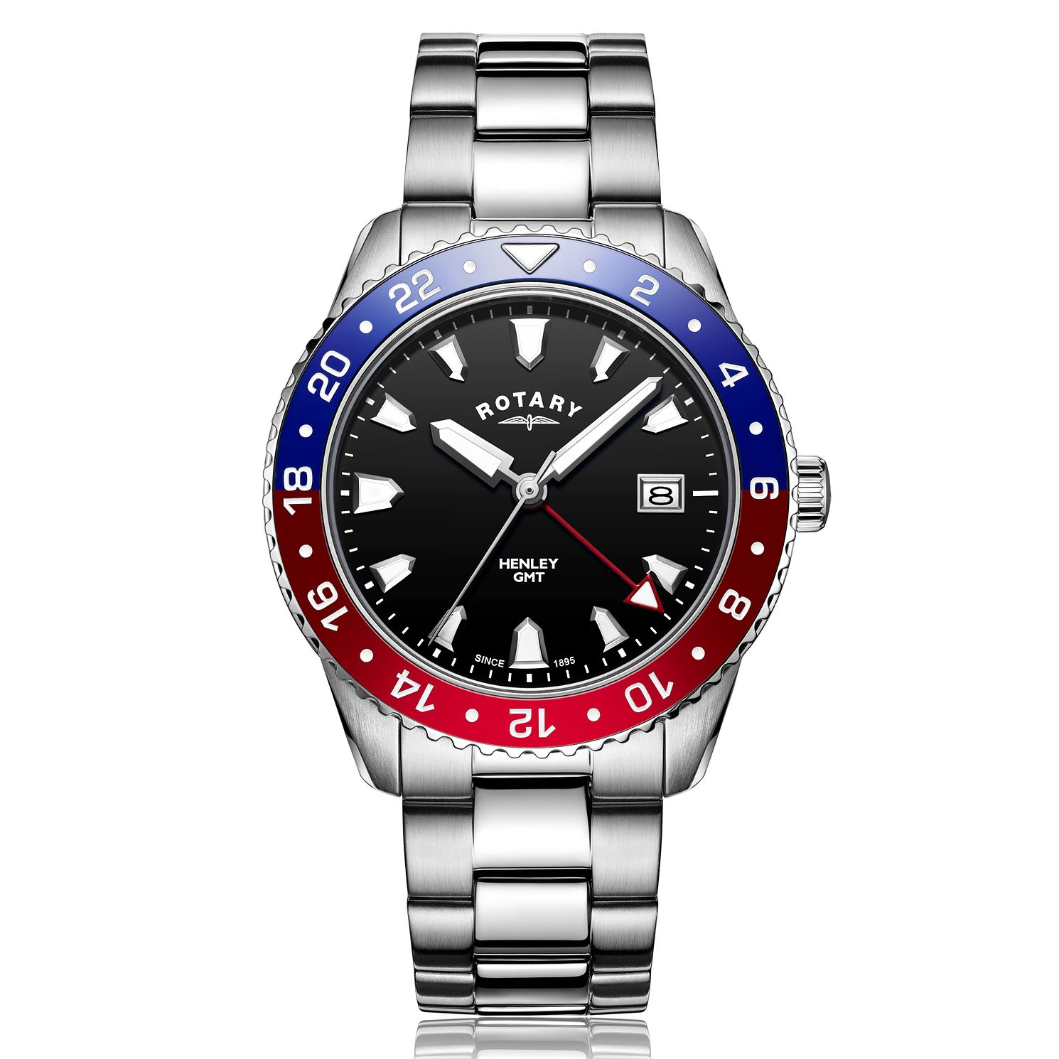 Rotary Henley GMT Pepsi Men's Stainless Steel Bracelet Watch - Product number 5711800