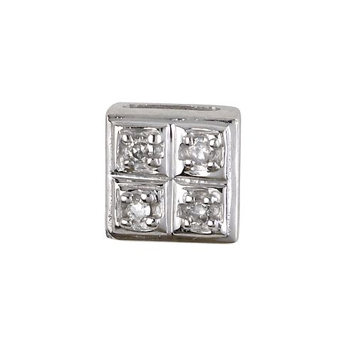 Men's 9ct White Gold Square Diamond Stud - Product number 5713641