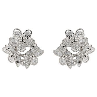 Mikey Silver Tone Crystal Flower Stud Earrings - Product number 5714621