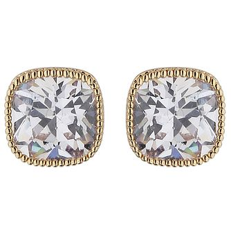 Mikey Gold Tone Square Crystal Stud Earrings - Product number 5714664