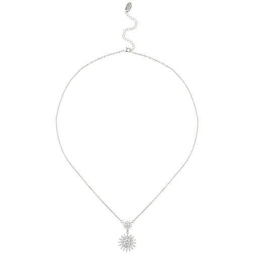 Mikey Silver Tone Cubic Zirconia Sun Design Pendant - Product number 5715067
