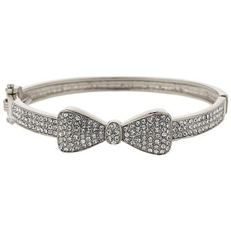 Mikey Silver Tone Fine Crystal Set Bow Design Bangle - Product number 5715296
